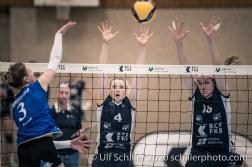 Meline Pierret (TS Volley Duedingen Powercats, #4) and Samantha Cash (TS Volley Duedingen Powercats, #18) Volleyball Swiss Championship Playoff Quarterfinal Volley Duedingen vs Cheseaux on February 26, 2020 in Duedingen (Switzerland)