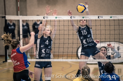 Block by Segolene Girard (TS Volley Duedingen Powercats, #15) Volleyball Swiss Championship Playoff Quarterfinal Volley Duedingen vs Cheseaux on February 26, 2020 in Duedingen (Switzerland)