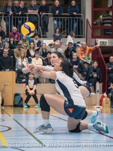 Sarina Brunner (TS Volley Duedingen Powercats, #11) and Thays Vanessa Deprati (TS Volley Duedingen Powercats, #5) Volleyball Swiss Championship Playoff Quarterfinal Volley Duedingen vs Cheseaux on February 26, 2020 in Duedingen (Switzerland)