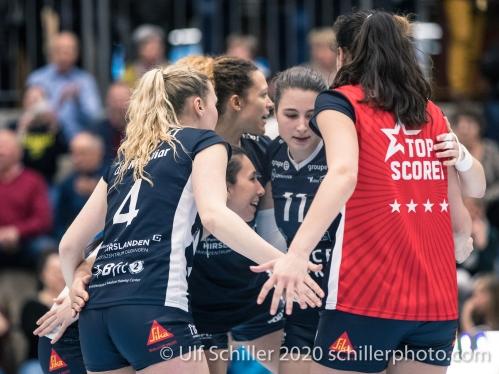 Volleyball Swiss Championship Playoff Quarterfinal Volley Duedingen vs Cheseaux on February 26, 2020 in Duedingen (Switzerland)
