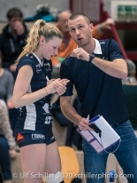 Serge Andrey (TS Volley Duedingen Powercats) and Meline Pierret (TS Volley Duedingen Powercats, #4) Volleyball Swiss Championship Playoff Quarterfinal Volley Duedingen vs Cheseaux on February 26, 2020 in Duedingen (Switzerland)