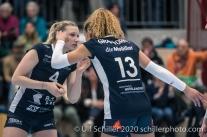 Meline Pierret (TS Volley Duedingen Powercats, #4) and Ines Granvorka (TS Volley Duedingen Powercats, #13) Volleyball Swiss Championship Playoff Quarterfinal Volley Duedingen vs Cheseaux on February 26, 2020 in Duedingen (Switzerland)
