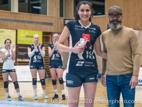 MVP Simona Dimitrova (TS Volley Duedingen Powercats, #7) Volleyball Swiss Championship Playoff Quarterfinal Volley Duedingen vs Cheseaux on February 26, 2020 in Duedingen (Switzerland)